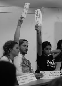 Stevenson representatives Kyra Brandt, Daniel Bernstein and Gema Rodriguez (left to right) were three of five votes opposing the appeal that reenacted the divestment resolution from 2014. Photo by Calyse Tobias.
