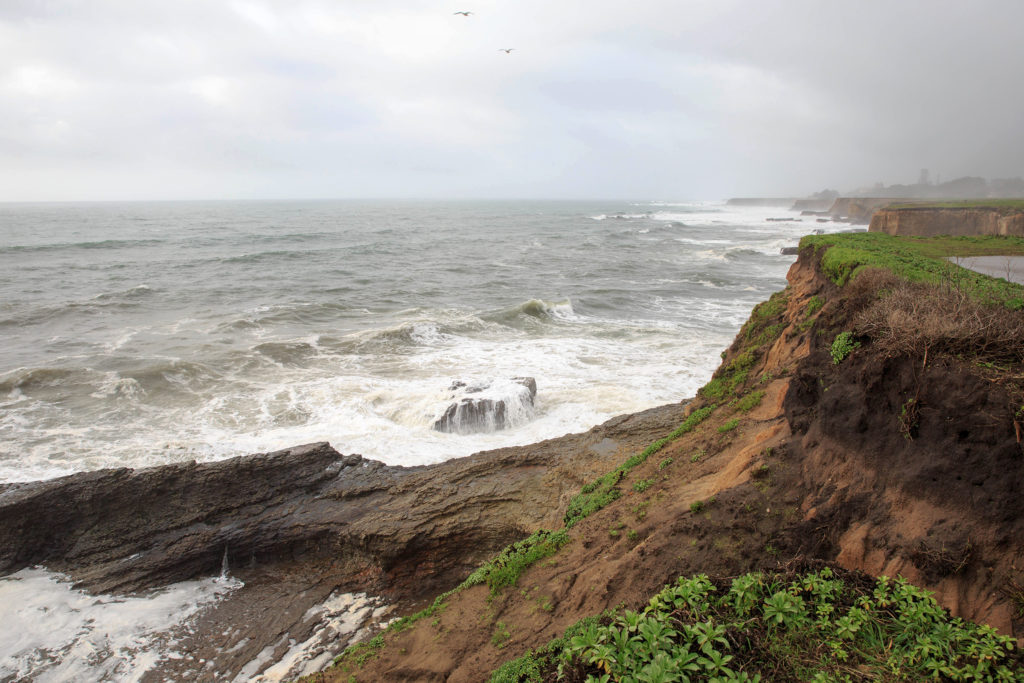 Three UCSC students were swept off of these rocks near Bonny Doon Beach amid high surf.  One was able to swim ashore while the two others were carried out to sea where they disappeared. Photo by Stephen de Ropp