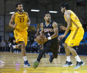 Idaho Stampede guard Brandon Fields finished with seven points in a 102-122 against the Canton Charge in the first game of the 2016 NBA D-League Showcase.  Photo by Casey Amaral.