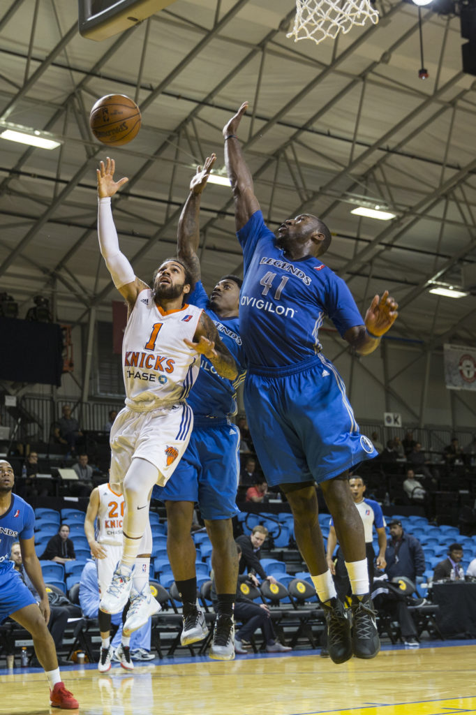 The Westchester Knicks, D-League affiliate of the New York Knicks, and Texas Legends, affiliate of the Dallas Mavericks, faced off in the second game of day one on Wednesday. Photo by Casey Amaral.