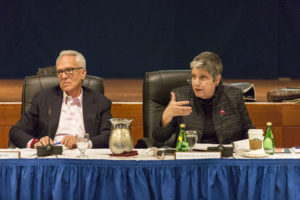 UC President Janet Napolitano (right) speaks during the January regents meeting at UCSF.