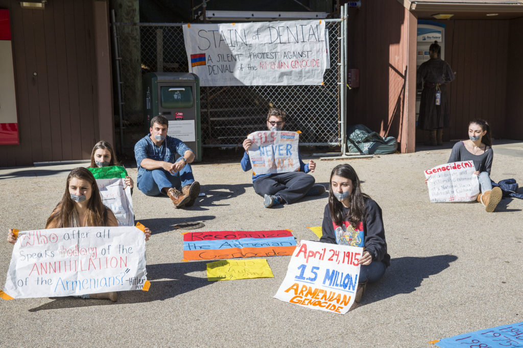 About 10 students from ASA gathered in Quarry Plaza last Thursday to bring attention to 1.5 million Armenians who were killed in 1915 and the refusal to recognize the mass killings as genocide. Photo by Casey Amaral.