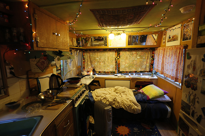 With no two trailers alike, park residents buy their trailers from previous student owners and enjoy the freedom to decorate both its interiors  and exteriors. Photo by Ali Enright.