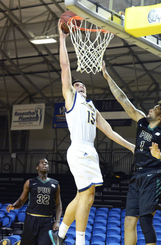Six-foot-four-inch Gabbard led the Slugs with seven rebounds during their last game on Feb. 13. The team will take on West Coast Baptist College on Feb. 20. Photo courtesy of Herb Decker.