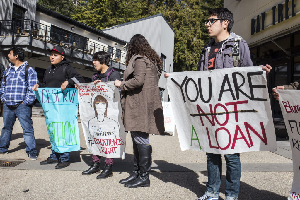Students originally gathered at the Quarry Plaza around noon. Photo by Calyse Tobias.