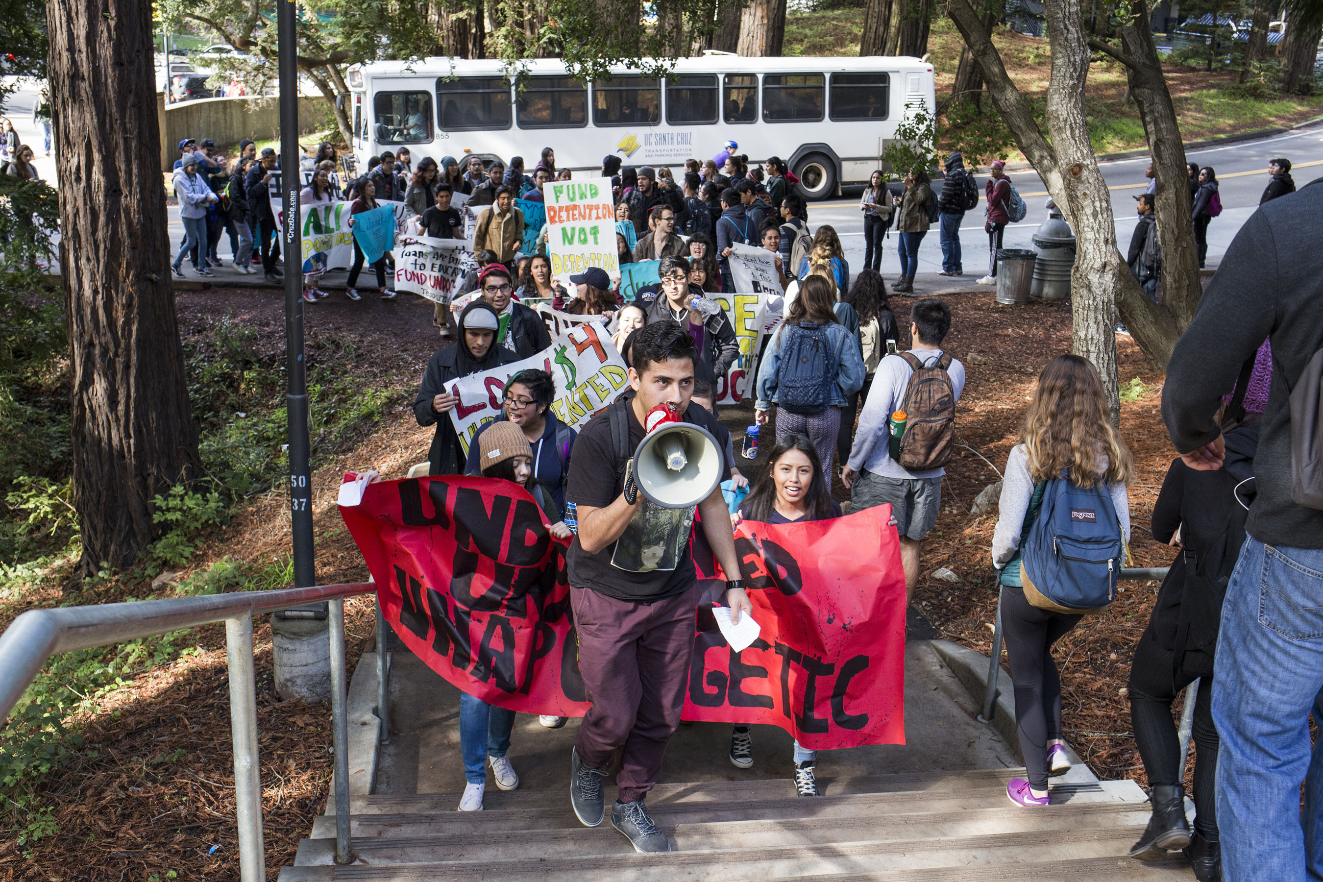 Students marched in a loop around campus that began at Quarry Plaza before gathering at Clark Kerr Hall where they sought to deliver a list of demands to Chancellor George Blumenthal. Photo by Calyse Tobias.