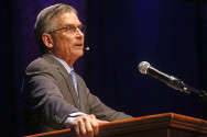 Dr. William D. Adams delivers a lecture about the contemporary status of the humanities in light of the growing emphasis on STEM in education today. Adams was nominated by President Barack Obama as the 10th chairman of the National Endowment for the Humanities (NEH) and was confirmed by the Senate in July 2014. Photo by Calyse Tobias
