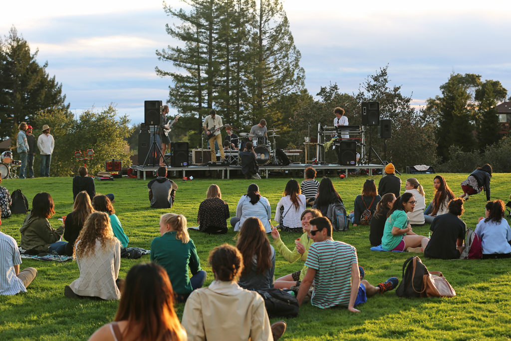 Hundreds flocked to the upper College Eight lawn on Feb. 26 for the West Fest.  The festival was put on by KZSC and the College Eight and Oakes Senates and featured live music. Photo by Stephen de Ropp