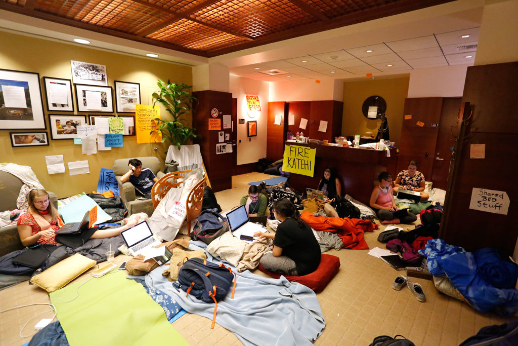 UC Davis students and community members have occupied the 5th floor of Mrak Hall since March 11. Chancellor Katehi has been under fire after the revelation of her paid board positions with DeVry University, King Abdullah University and textbook manufacturer Wiley & Sons . Photo by Stephen de Ropp