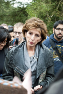 Katehi is pictured here in 2011 responding to an incident at UC Davis when students were pepper sprayed by campus police at a protest during the Occupy movement. Photo by Stephen de Ropp