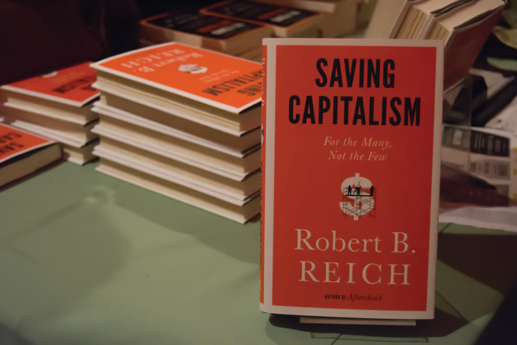 On Tuesday night, former Secretary of Labor Robert Reich spoke about his new book at the Rio Theater. Photo by Megan Schnabel.