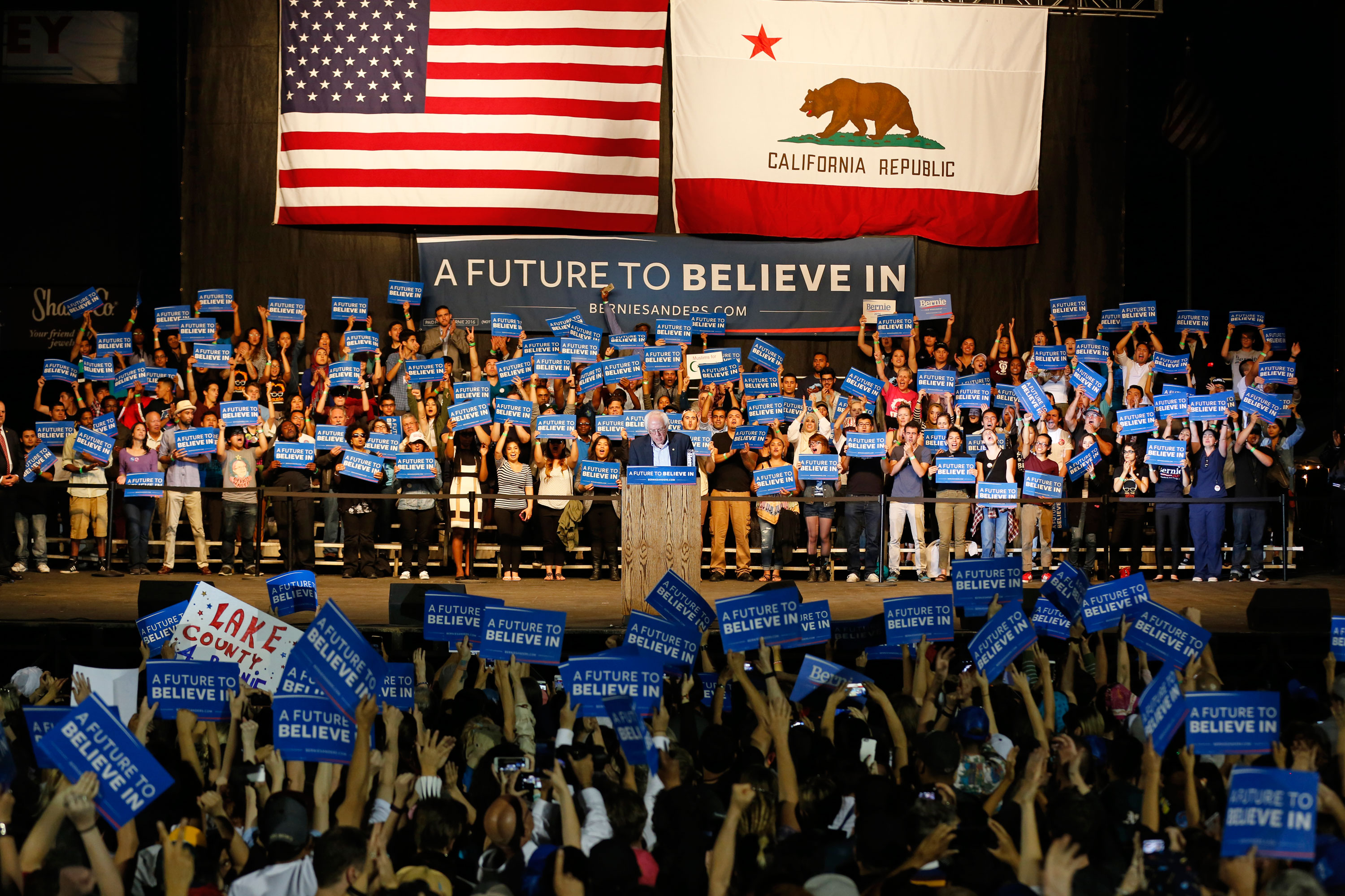 Sanders made campaign stops at four different rallies in Northern California between May 9 and May 18. Photo by Stephen de Ropp.