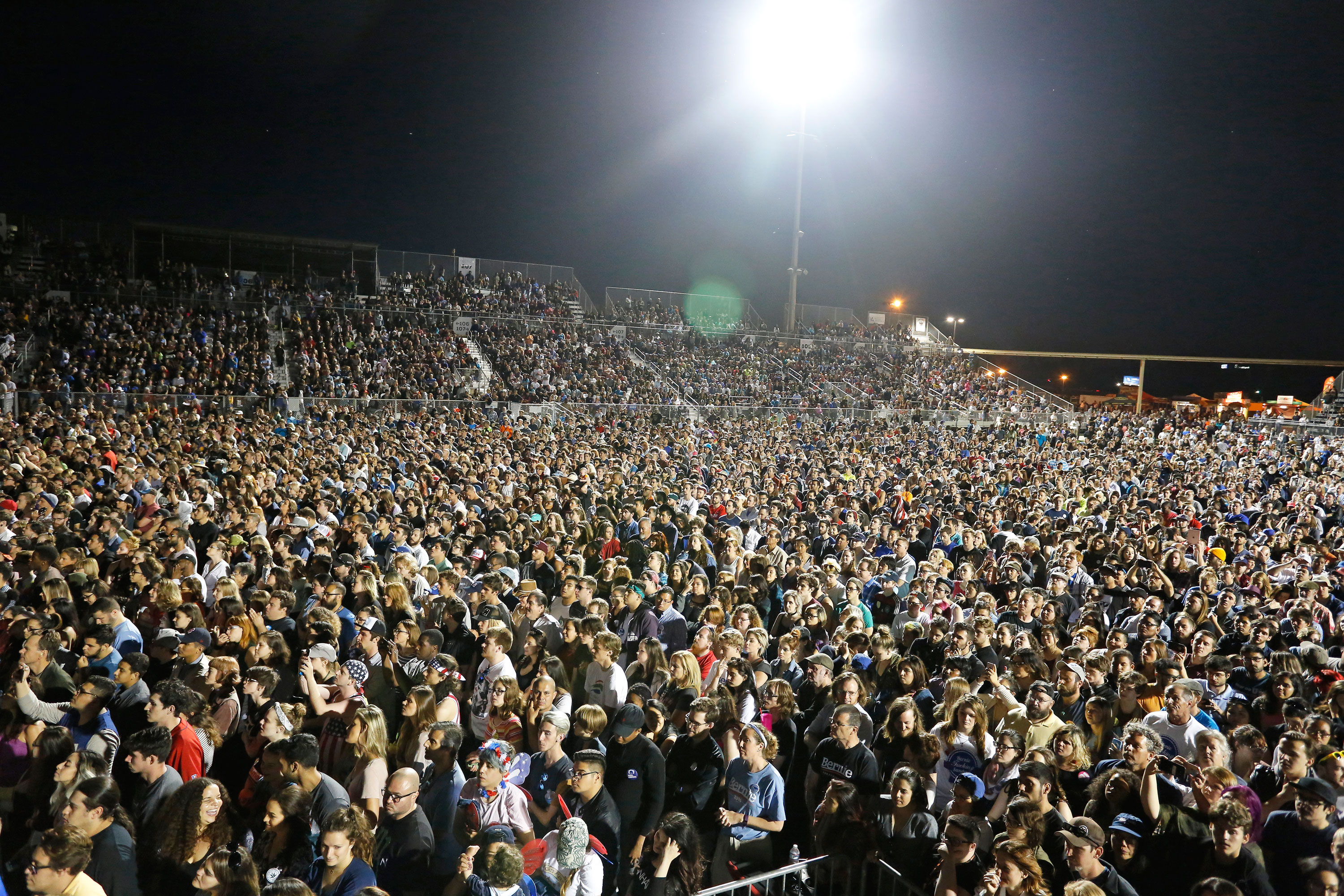 Upward of 20,000 people packed Bonney Field at Cal Expo in Sacramento on May 9 for Democratic presidential candidate Bernie Sanders. Photo by Stephen de Ropp.