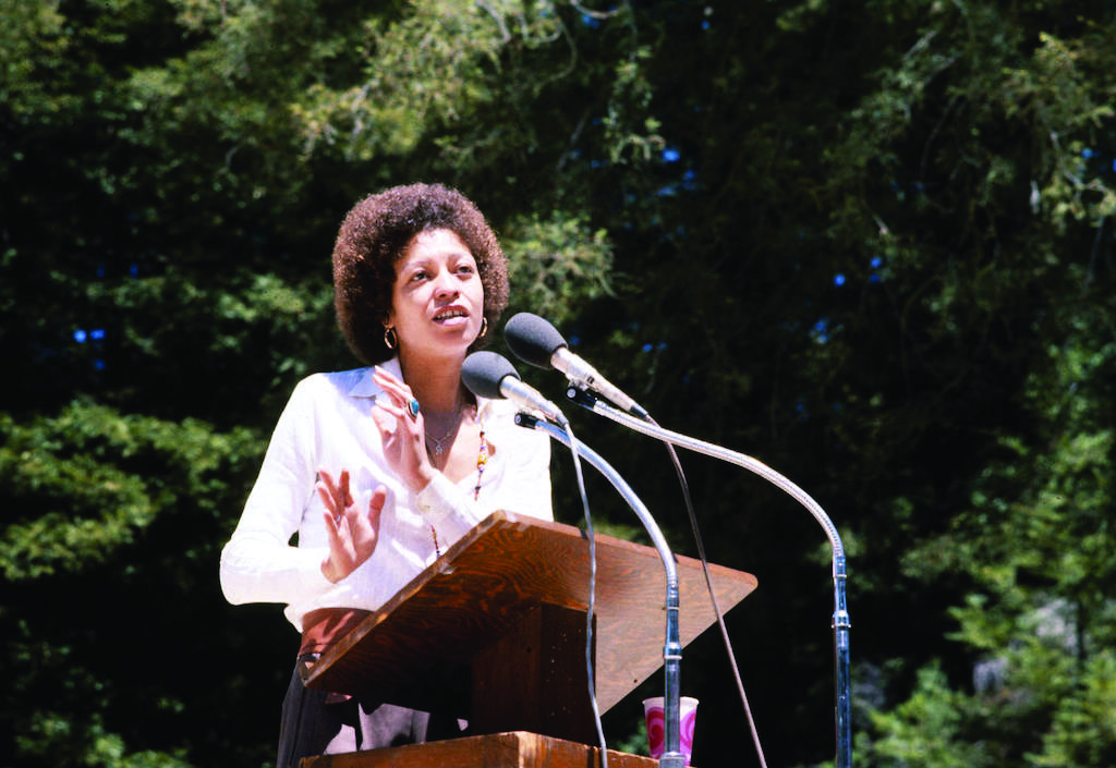 Angela Davis spoke at Quarry Amphitheater in May 1978. Photo courtesy of UCSC Special Collections.