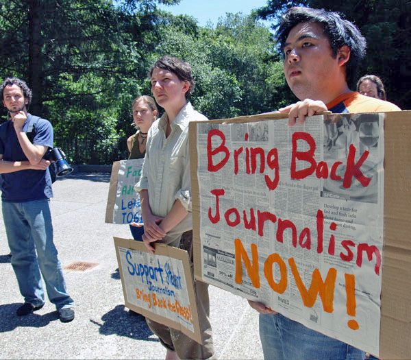 "Members of the Journalism Now Committee fought to bring back the journalism minor in 2006 after the program graduated its last class in 2005. Almost a decade after the program was cut, CHP continues to produce award-winning journalists and exist as an independent study class. ""You don't have to go very far to see how successful the program has been,"" said Patrick Knowles, a former CHP editor-in-chief who graduated in 2004 with a journalism minor. ""Martha Mendoza just won a Pulitzer Prize, Chris Amico is a Peabody finalist for his work with Frontline, William Finnegan won a Pulitzer for his story on surfing … this is all in the last three weeks."" Photo courtesy of Bradley Allen."