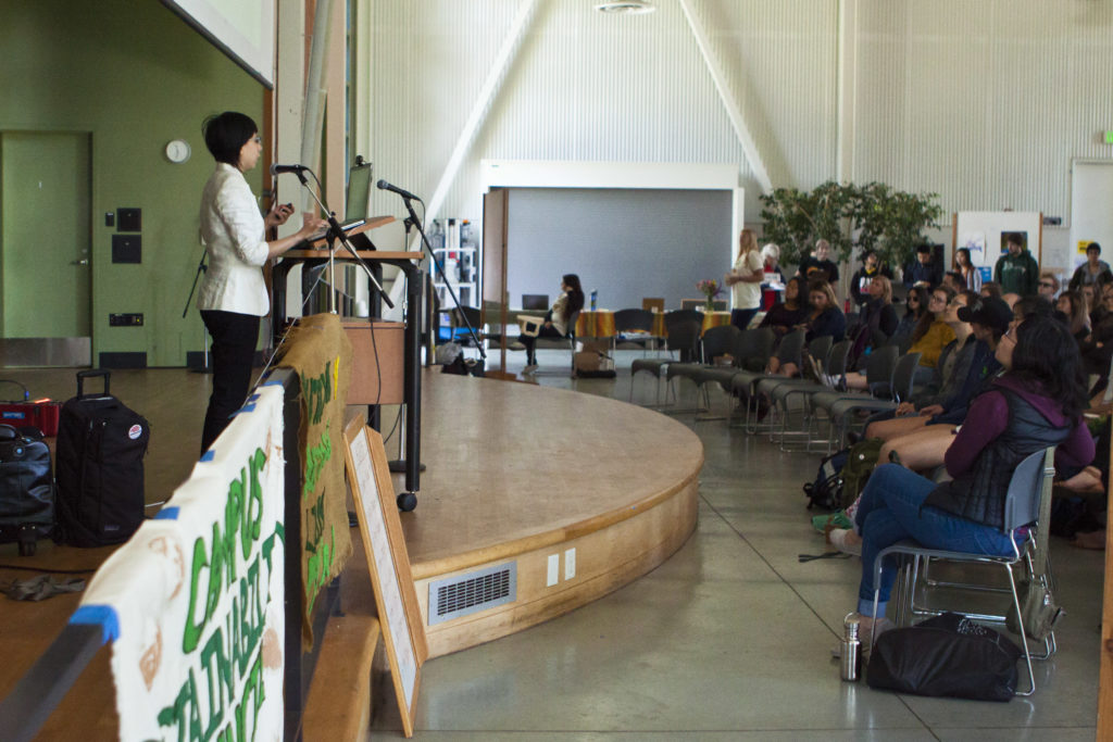Jessian Choy, one of the key-note speakers for the Earth Summit, spoke last Friday about her experience and provided attendees with tips to make eco-activism more approachable and practical. Photo by Ali Enright