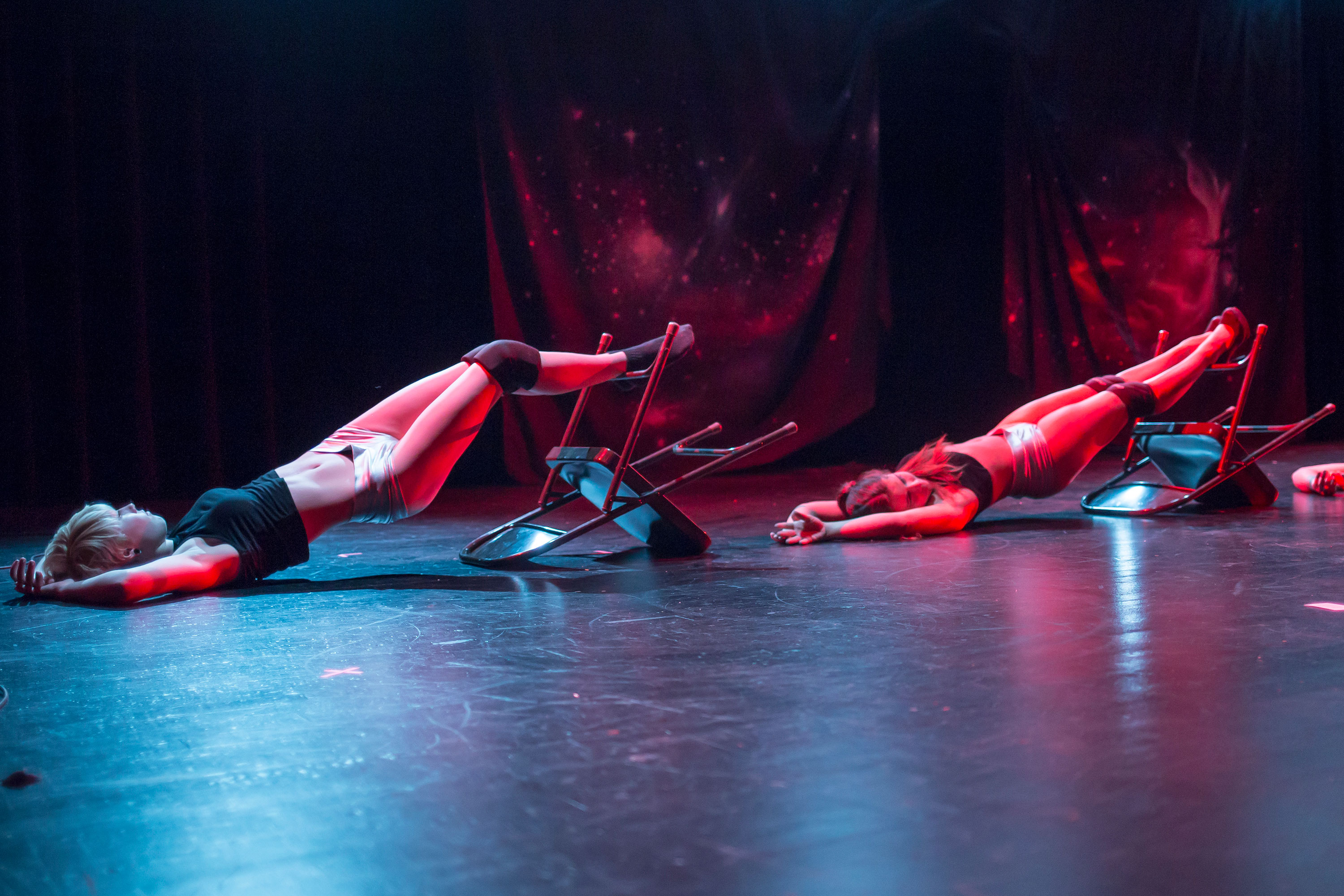 Dancers perform burlesque scenes while using a variety of props.  Photo by Calyse Tobias.