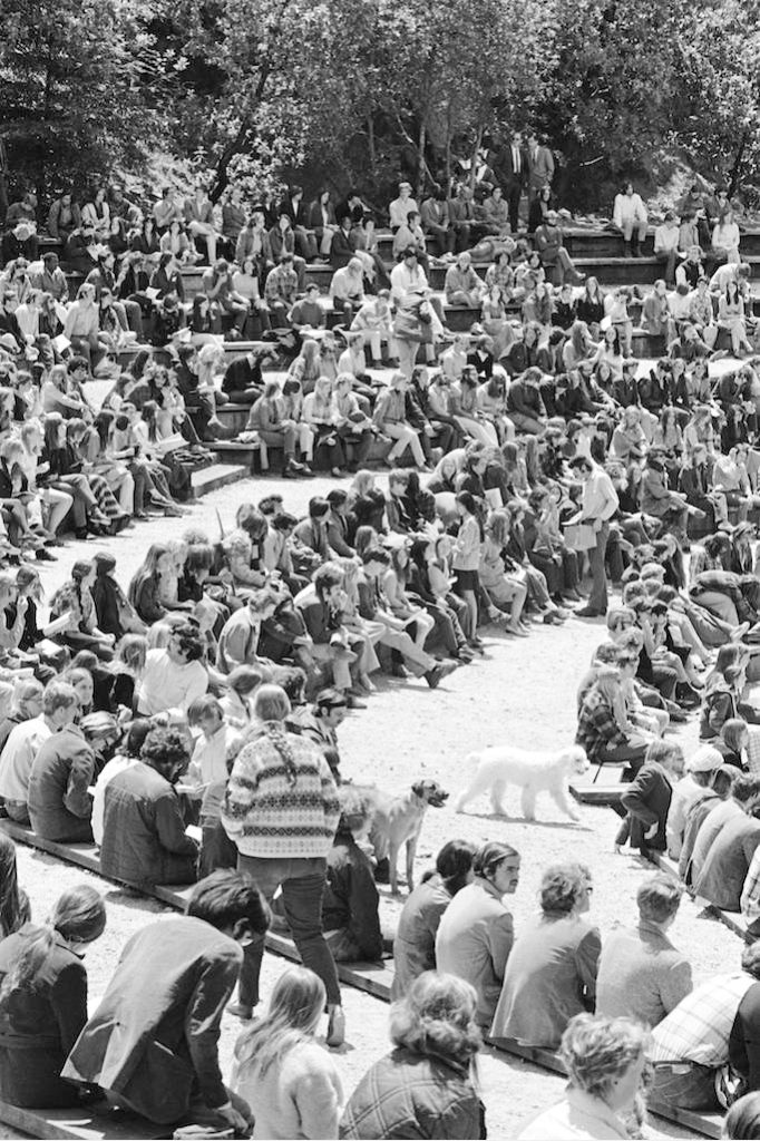 In 1970, over 2,000 students, staff, faculty and community members gathered in Quarry Ampitheater to protest military action in Cambodia. They also protested the recent Kent State shooting, in which unarmed college students were shot by the National Guard while protesting the Vietnam War. Courtesy of UCSC Special Collections.