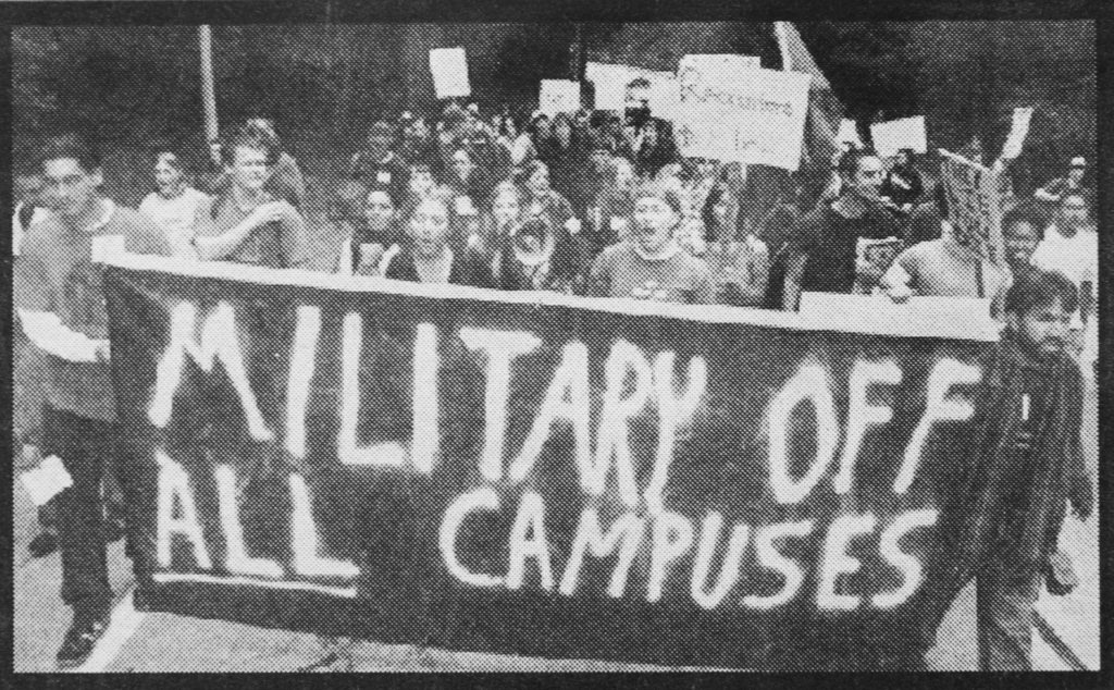 Protesters engaged in a march led by SAW against military recruiters at the UCSC Career Fair on Oct. 18, 2005. Photo from City on a Hill Press archives.