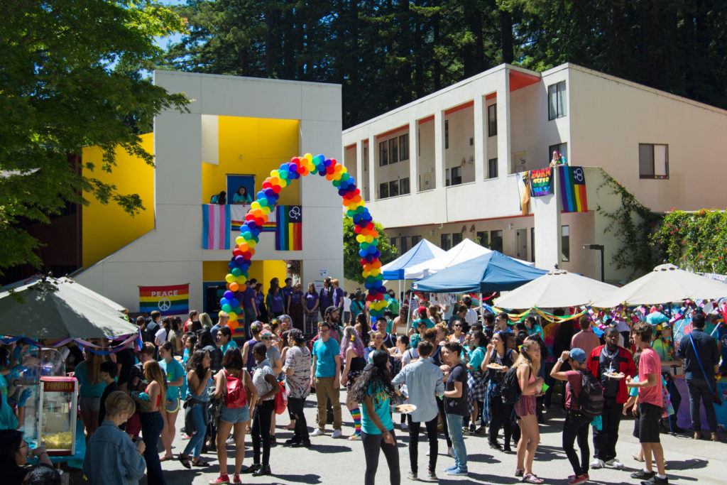 Last Saturday, Kresge Lower Street filled with people celebrating LGBTQ+ pride at Kresge's 11th annual Pride Festival.  Photo by Megan Schnabel.