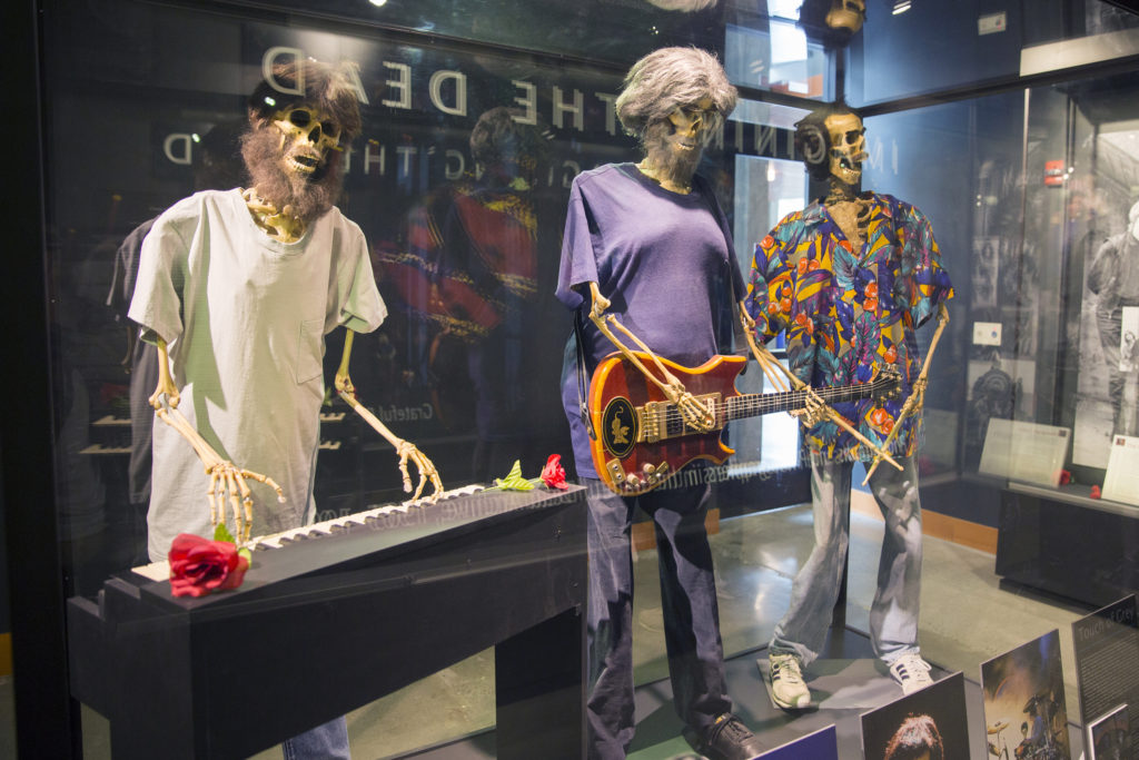 "Anatomically correct marionettes of Garcia, Mydland and Kreutzmann from their ""Touch of Grey"" music video stand near the entrance of the Grateful Dead exhibit. Photo by Casey Amaral"