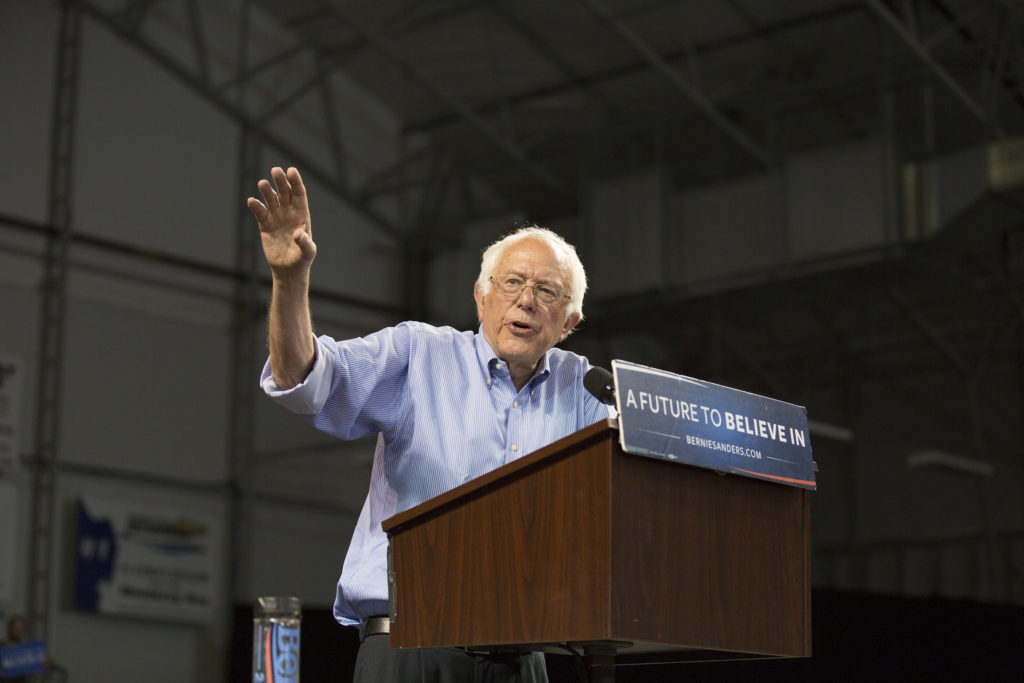 Sanders delivered an hour long speech in front of a crowd of over 2,000 people in the packed arena. The presidential candidate was met with cheers and applause during his speech. Photo by Casey Amaral