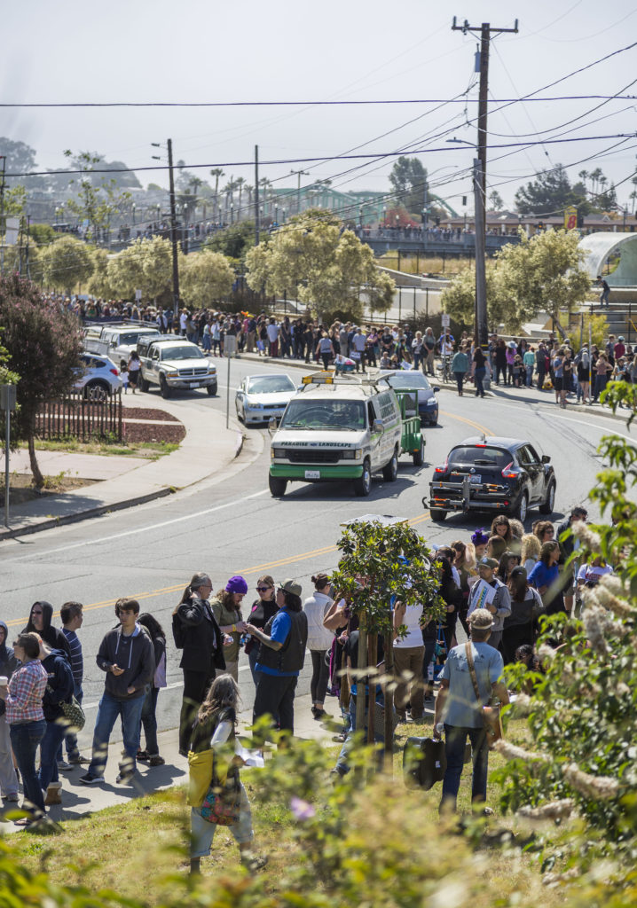 Last Tuesday between 4,000 and 5,000 people gathered outside of Kaiser Permanente Arena in a line stretching about a mile long in the hopes of attending the Bernie Sanders rally. Photo by Jasper Lyons