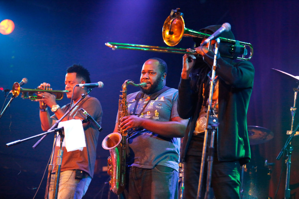 Members of  The Soul Rebels groove with the rhythm just before midnight on Friday evening. Several hundred people attended the multi-genre event held at the Catalyst Club. Photo by Stephen de Ropp.