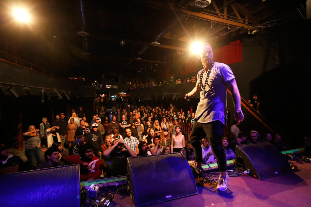 """Up-and-coming Bay Area Rapper Pure Powers took the stage at the beginning of the night, performing original songs from his new album """"One Dream."""" Photo by Stephen de Ropp."""