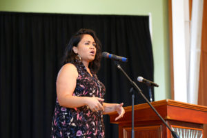 Spoken word poet Terisa Siagatonu spoke to students about the strength of their actions. In 2012, Siagatonu won the Champion of Change Award from President Obama. Photo by Stephen de Ropp