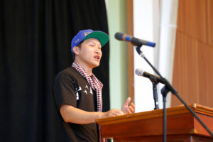Eddy Zheng delivers the keynote address during the 14th annual Practical Acitivsm Conference hosted by Colleges Nine and Ten. Zheng is an advocate for keeping Asian and Pacific Islanders out of the prison industrial system. He spoke about his experience in the prison system, and how that influenced him to become an activist. Photo by Stephen de Ropp