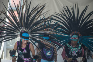 The White Hawk Aztec dancers were two of the 18 diverse groups that performed at the World Arts Festival. By Yin Wu.