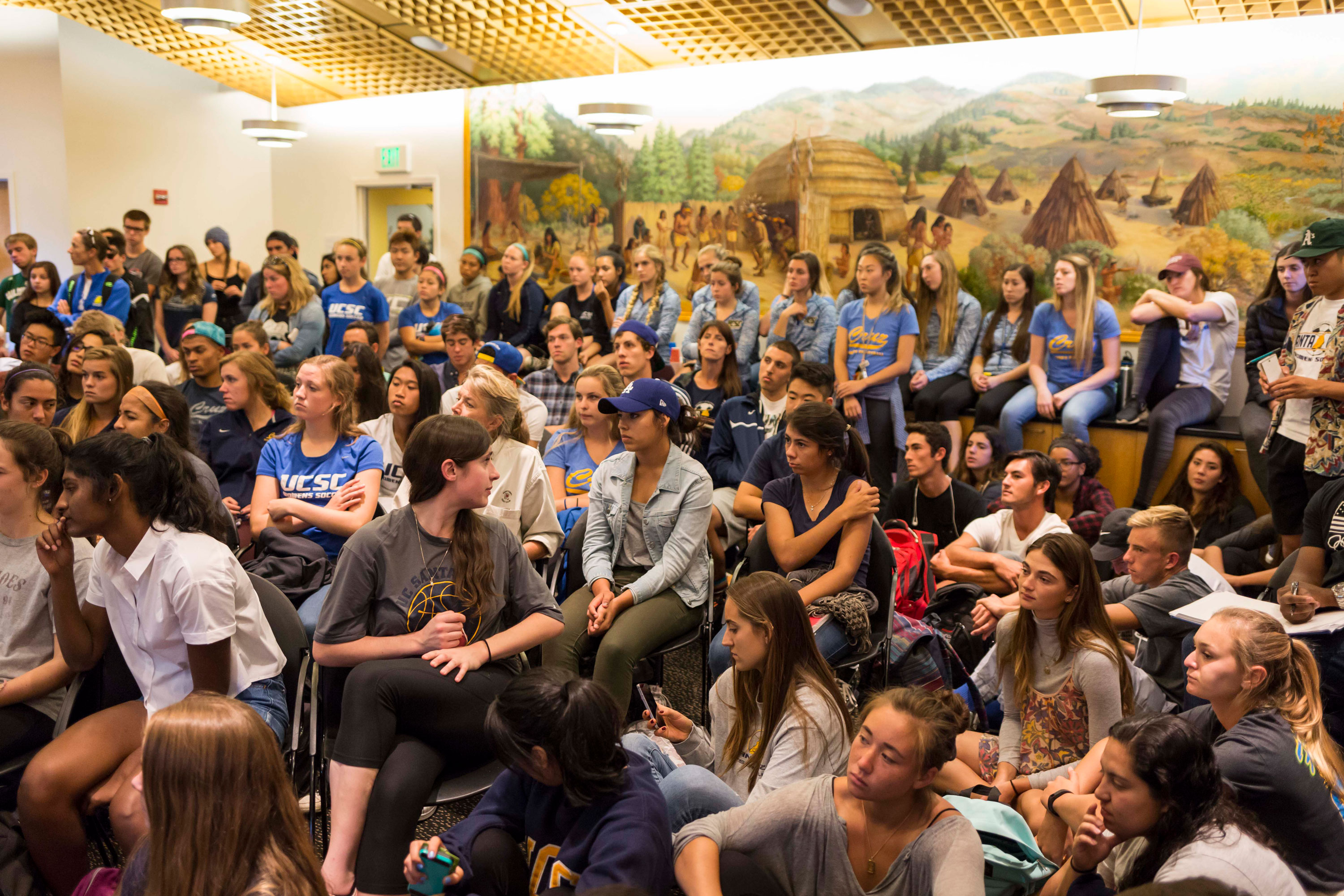 About 100 students, mostly NCAA athletes filled the Cervantes and Velasquez Conference Room for a town hall meeting hosted by the Faculty Senate Special Committee on Athletics on Oct. 19. Photo by Jasper Lyons