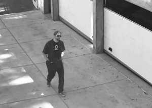 The suspect was filmed at Merrill College on Sept. 28. They are wanted in connection with white supremacy packages left in multiple locations. Courtesy of UCSC Police Department