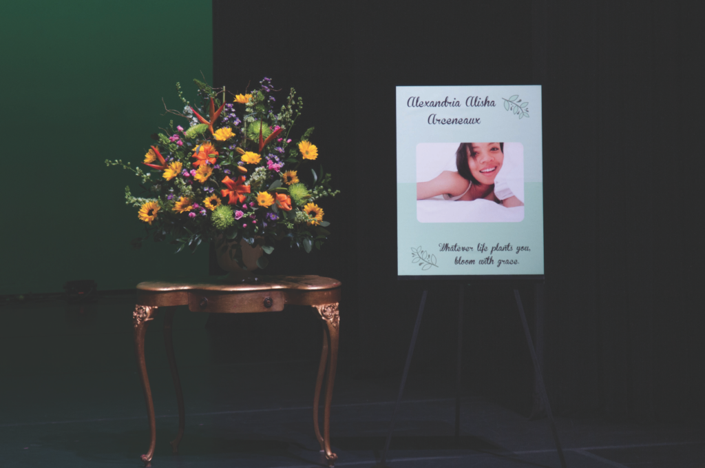 About 30 community members gathered at the theater arts department's Second Stage last Friday afternoon to remember Alex Arceneaux, a third-year UCSC student killed in a hit and run collision last fall. Photo by Sean MacNaughton.