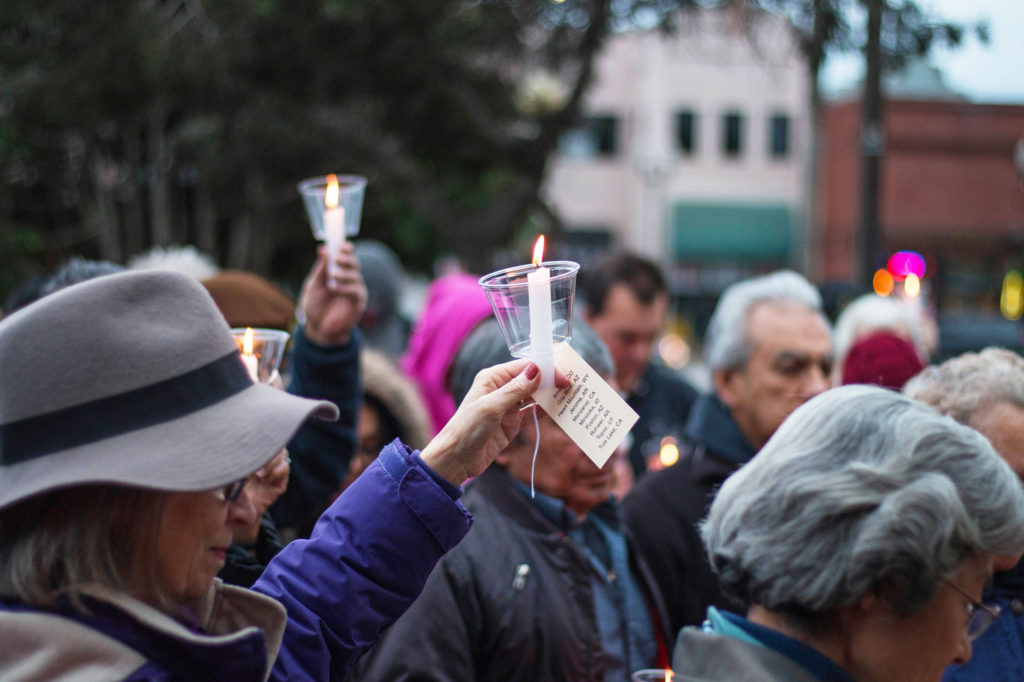 Attendees gather at the Watsonville Plaza to pay tribute to those affected by Executive Order 9066, which resulted in the forced internment of nearly 120,000 innocent persons of Japanese ancestry. Photo by Alonso Hernandez
