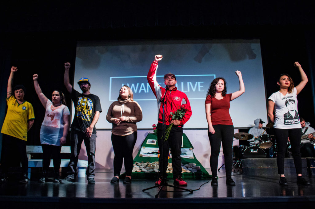"Students from Bay Area high schools and colleges perform ""On the Hill: I am Alex Nieto"" on March 14. They performed songs, scenes and music to showcase the community's struggle for justice following Nieto's death in 2014. Photo by Alonso Hernandez"