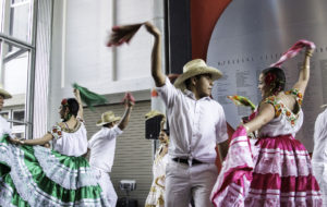 A main feature of Beyond Borders were a variety of folk dances performed by the Centeotl Danza y Baile group of the Senderos organization, which focuses on Oaxacan culture. Photo by Danielle Del Rosario