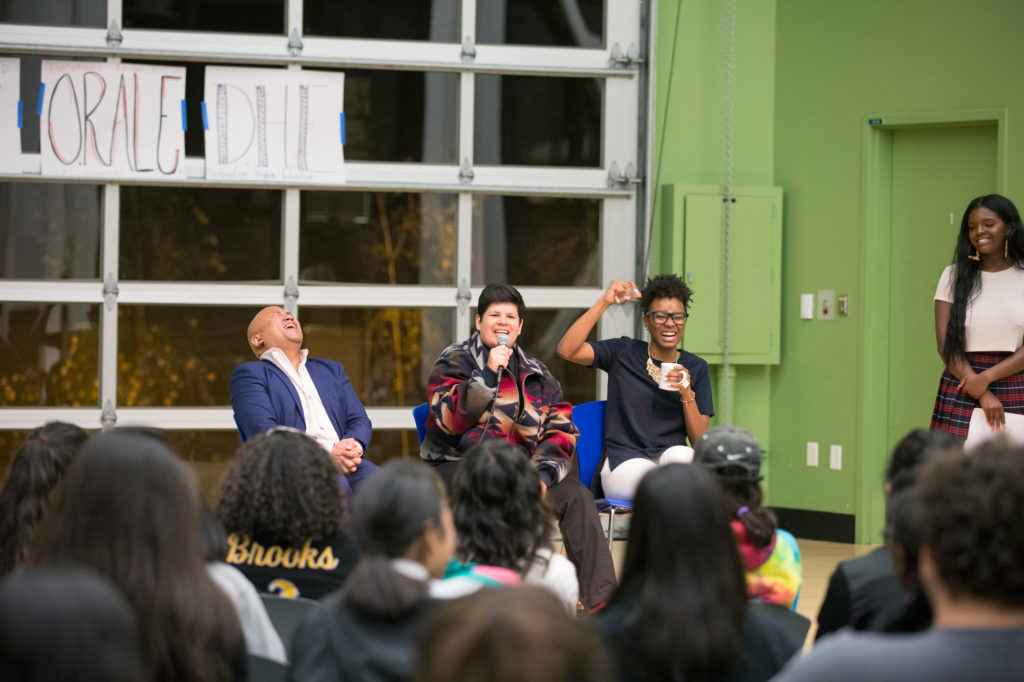 UCSC alumni keynote speakers stressed the importance of community and solidarity with the goal of empowering students who identify as Filipinx, Afrikan/Black/Caribbean or Latinx/Chicanx to come to college. Photo by Casey Amaral