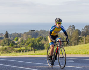 Samuel Cheng climbs Hagar Drive during the Men's D race. Just five riders raced for UCSC during the annual Slugapalooza event last month. Photo courtesy of Peter Froud