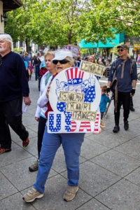 Many of the protesters were longtime residents of Santa Cruz. The student presence was somewhat lacking during this march. Photo by Alonso Hernandez