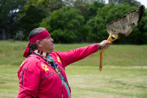 Several members of the Native Veterans Association attended the Drum Feast in full tribal regalia at the Family Student Housing field on Saturday. Photo by Sean MacNaughton