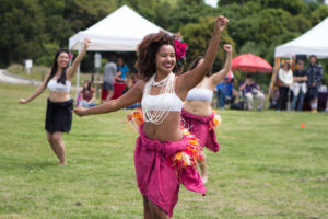 Josie Clerfond, a third-year UCSC student, performs with People of the Island, a dance group focused on Polynesian tradition and culture. Photo by Sean MacNaughton