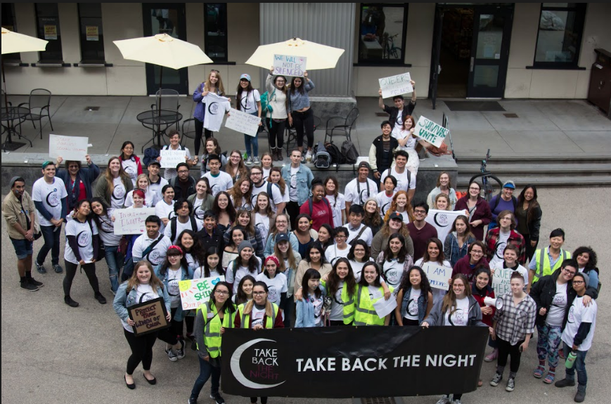 About 60 people attended the Take Back the Night rally at Quarry Plaza, including UCSC students, staff and Santa Cruz community members.  Photo by Danielle De Rosario.