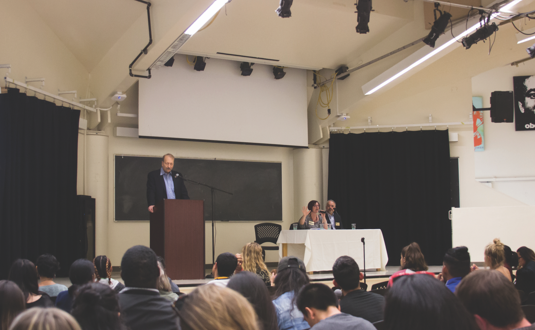 At Kresge's Town Hall on May 9, students were given the opportunity to voice issues and concerns to Chancellor Blumenthal, Campus Diversity Officer Teresa Maria Linda Scholz and interim Executive Vice Chancellor Herbie Lee. Photo by Danielle Del Rosario.