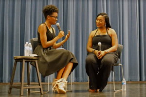 Tiffany Dena Loftin facilitates a discussion with Alicia Garza at Radical Voices on Tuesday at the Stevenson Event Center. Garza, co-founder of Black Lives Matter, spoke about politics, identity and the media. Loftin is a former commissioner for former President Obama and current racial justice coordinator for the Civil, Human and Women's Rights Department at the American Federation of Labor and Congress of Industrial Organizations. The event was held to equip people with tools to combat white supremacy and racism within the current political climate and mainstream media. Photo by Cal Tobias.