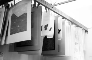 After finishing a print, it is crucial for artists to hang up their piece to dry before it can finally be displayed. Photo by Danielle Del Rosario