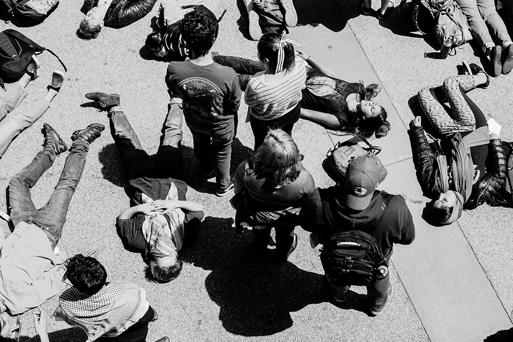 Students for Justice in Palestine Holds Die-In in Quarry Plaza
