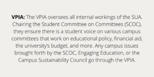 VPIA: The VPIA oversees all internal workings of the SUA. Chairing the Student Committee on Committees (SCOC), they ensure there is a student voice on various campus committees that work on educational policy, financial aid, the university's budget, and more. Any campus issues brought forth by the SCOC, Engaging Education, or the Campus Sustainability Council go through the VPIA.