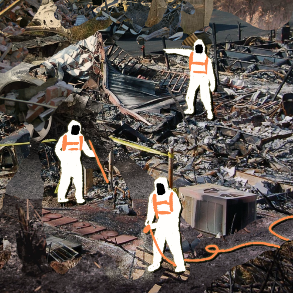 Photo illustration of hazardous waste being cleaned up by workers in hazmat-like suits